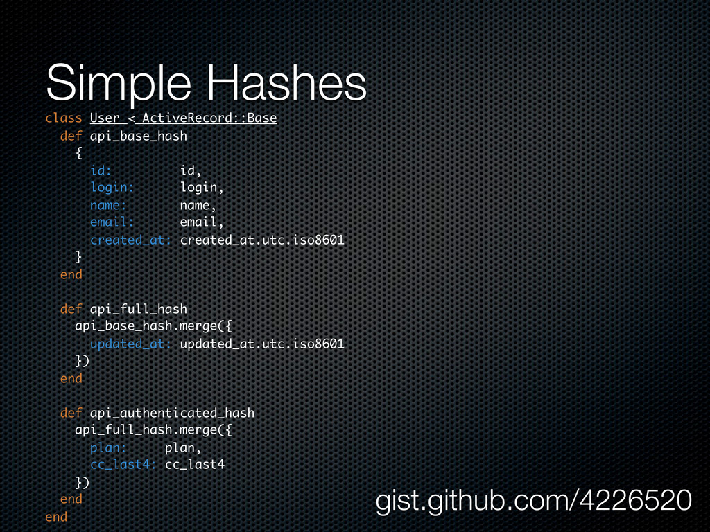 Simple Hashes class User < ActiveRecord::Base d...