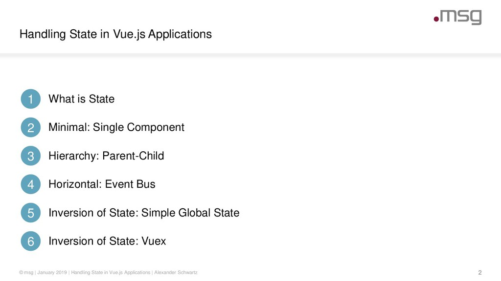 Handling State in Vue.js Applications 2 © msg |...