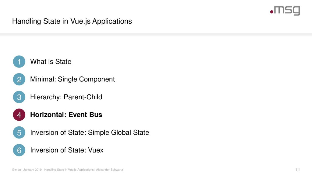 Handling State in Vue.js Applications 11 © msg ...