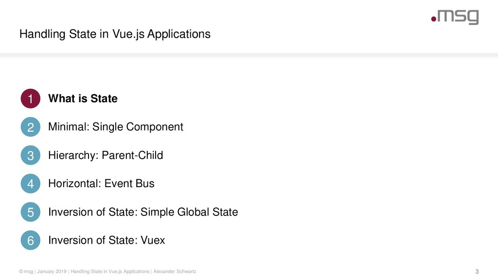 Handling State in Vue.js Applications 3 © msg |...