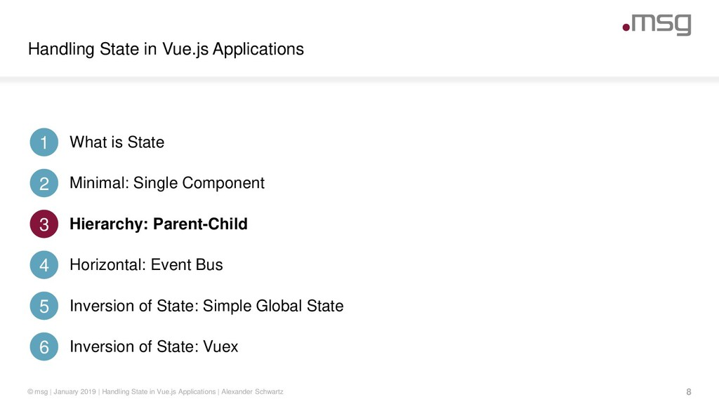 Handling State in Vue.js Applications 8 © msg |...