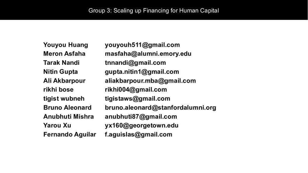 Group 3: Scaling up Financing for Human Capital...