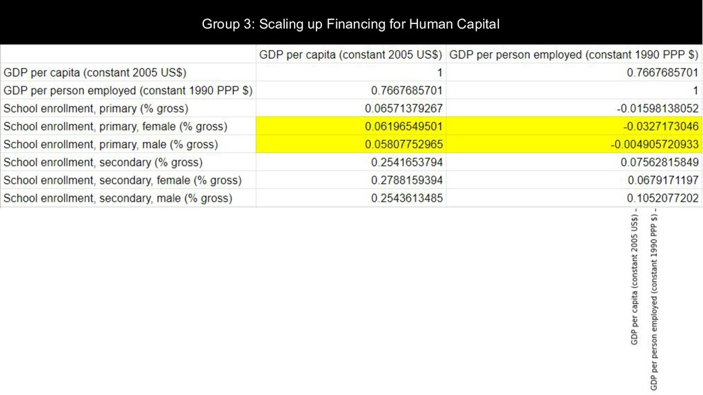 Group 3: Scaling up Financing for Human Capital