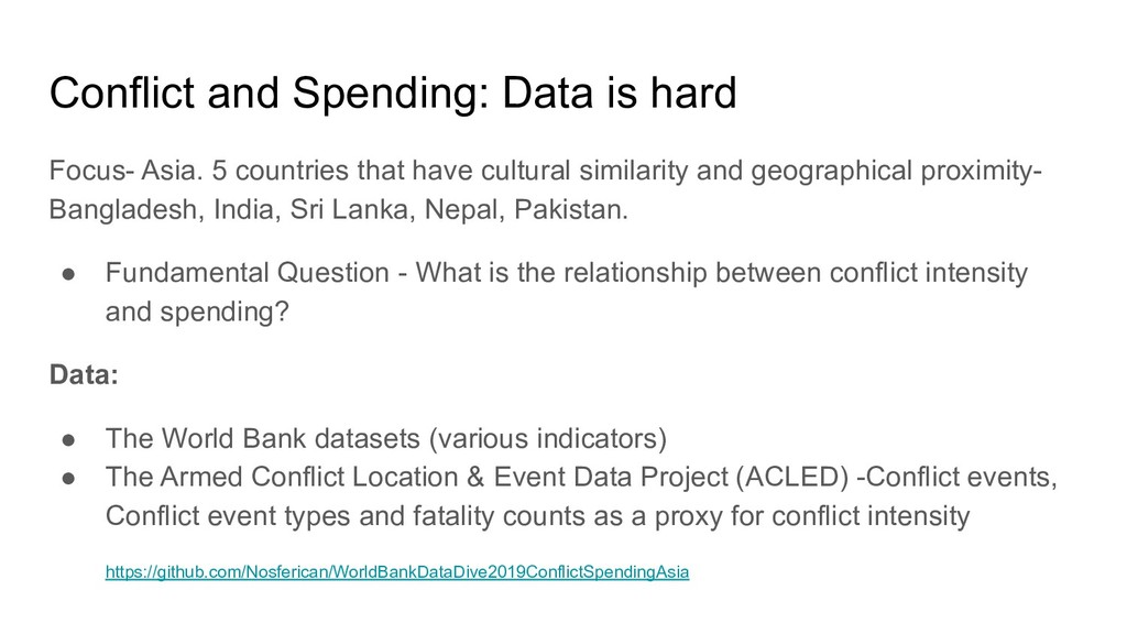 Conflict and Spending: Data is hard Focus- Asia...