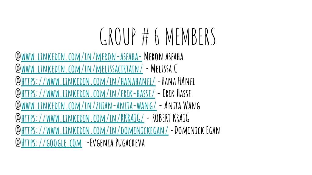 GROUP # 6 MEMBERS @www.linkedin.com/in/meron-as...