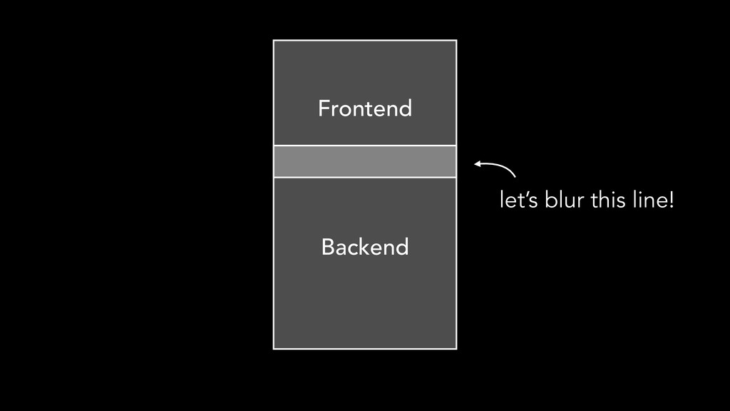 Backend Frontend let's blur this line!