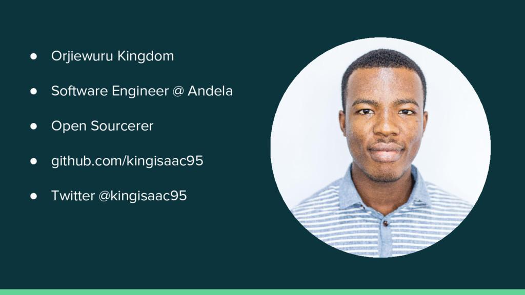 ● Orjiewuru Kingdom ● Software Engineer @ Andel...