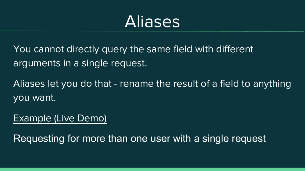 Aliases You cannot directly query the same fiel...