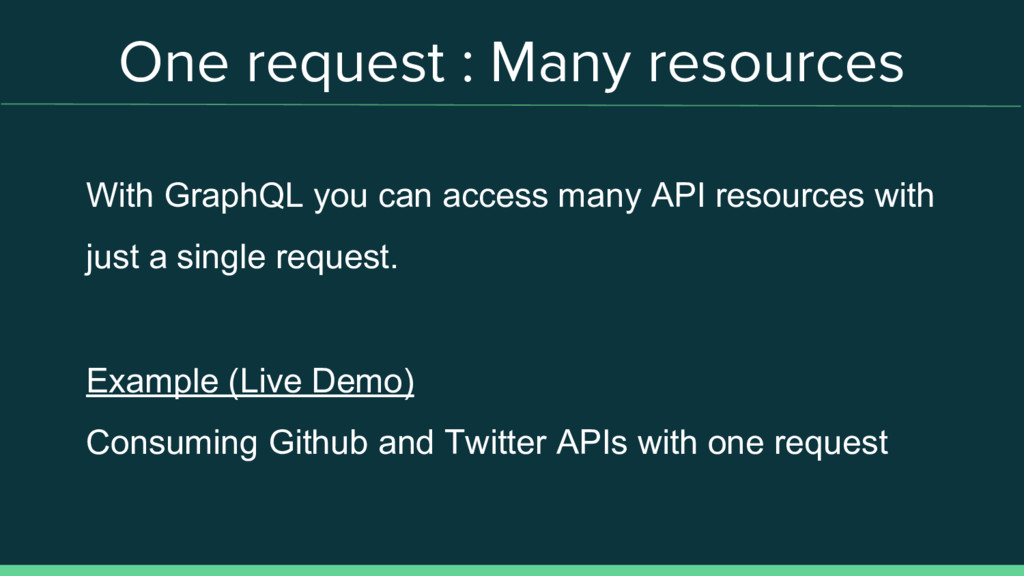 One request : Many resources With GraphQL you c...