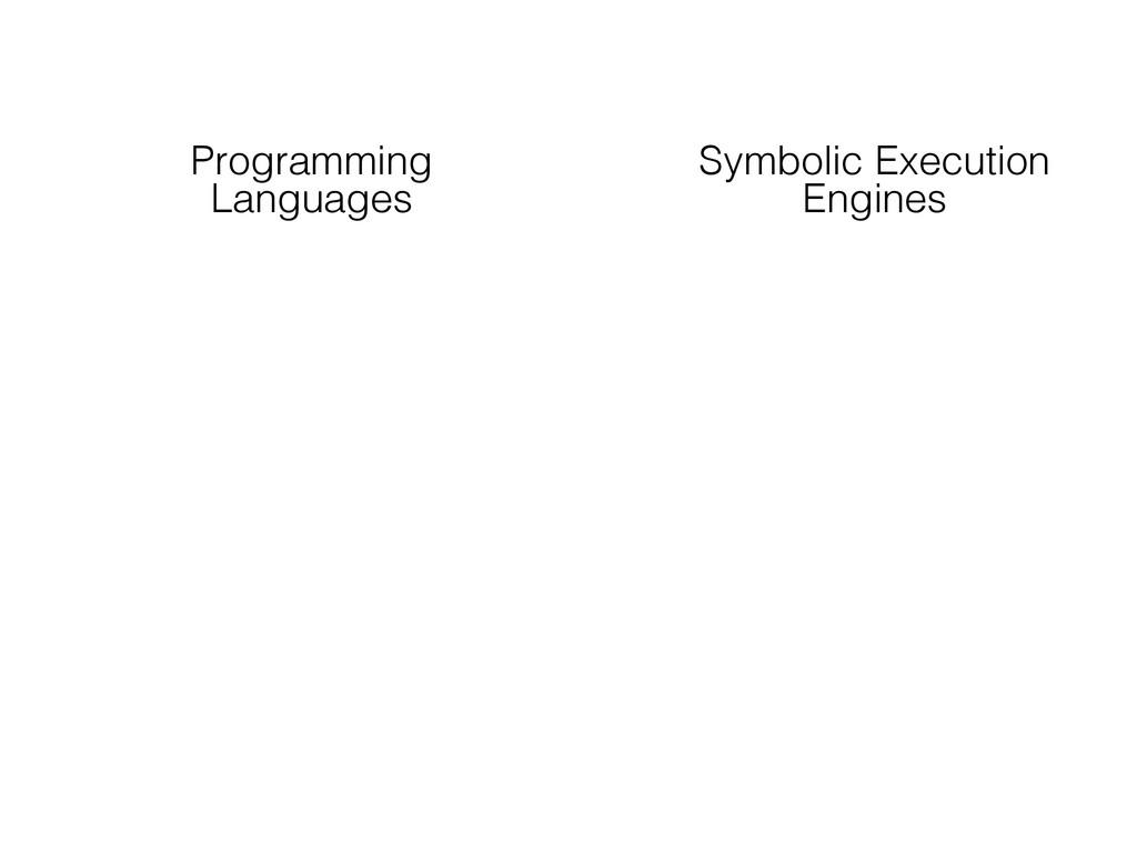 Programming Languages Symbolic Execution Engines