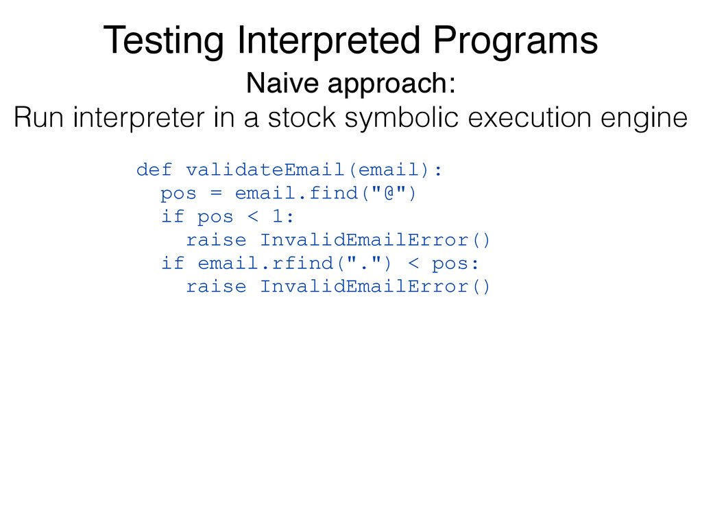 Testing Interpreted Programs def validateEmail(...