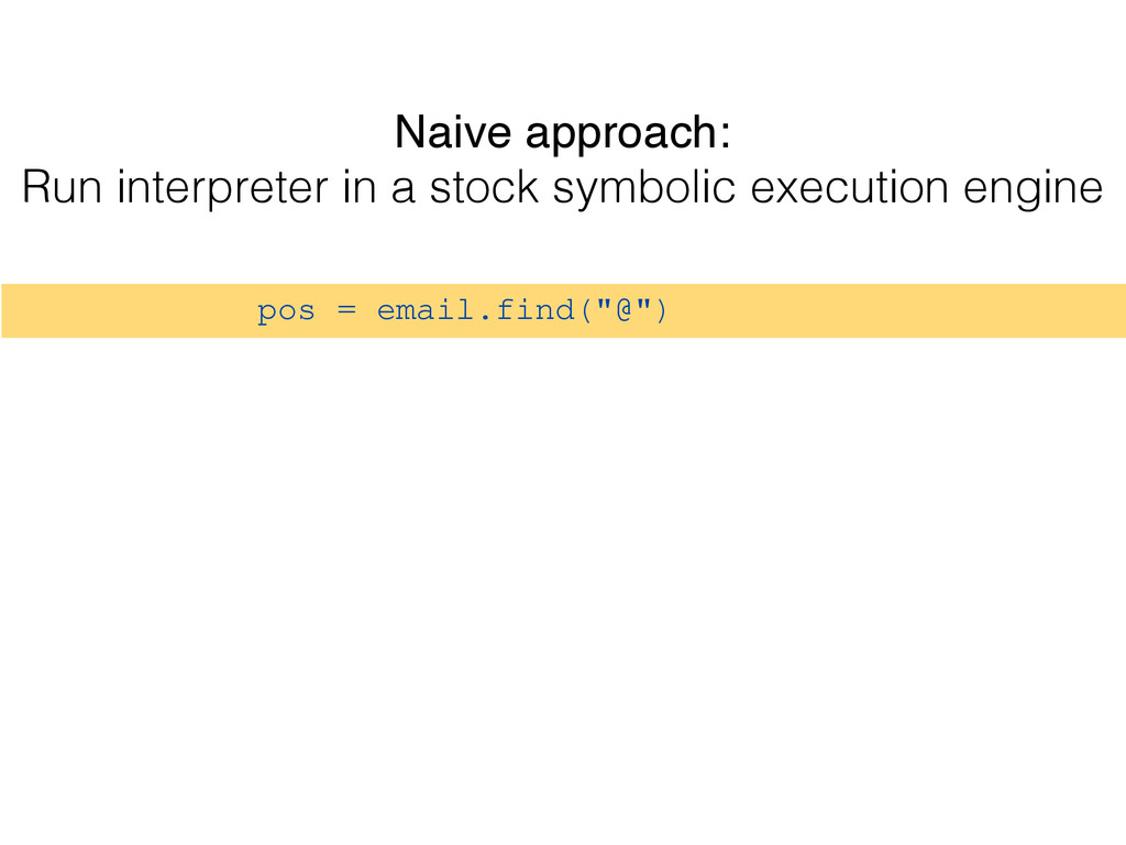 """pos = email.find(""""@"""") Naive approach: Run inter..."""