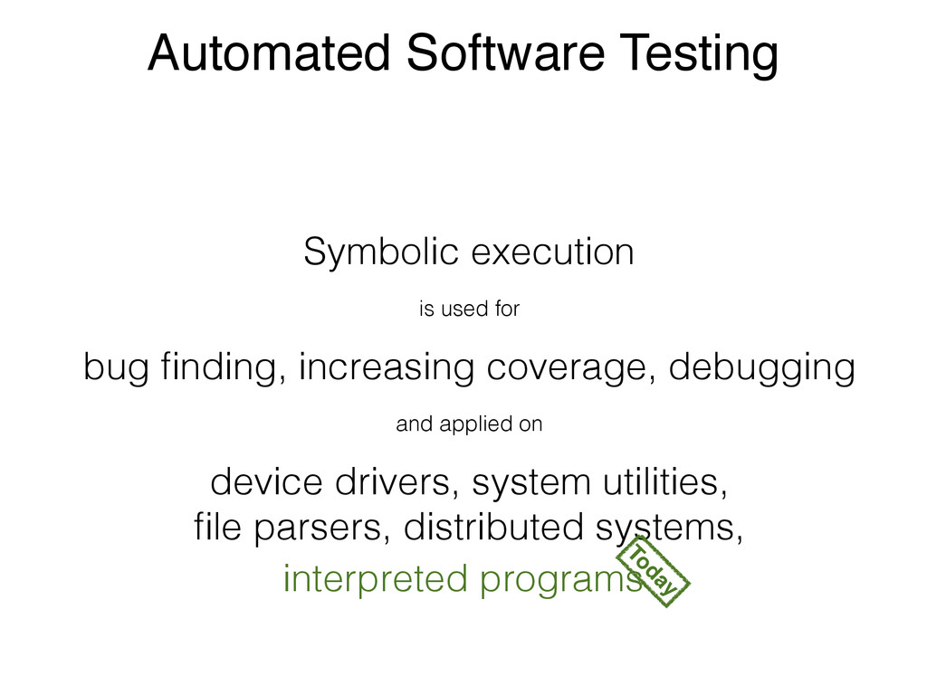 Automated Software Testing Symbolic execution i...