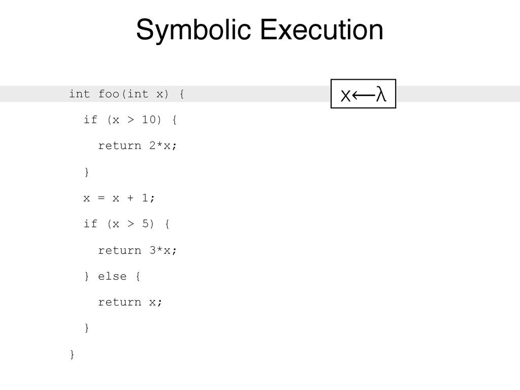 Symbolic Execution int foo(int x) { if (x > 10)...