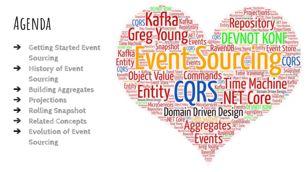 Agenda ➔ Getting Started Event Sourcing ➔ Histo...