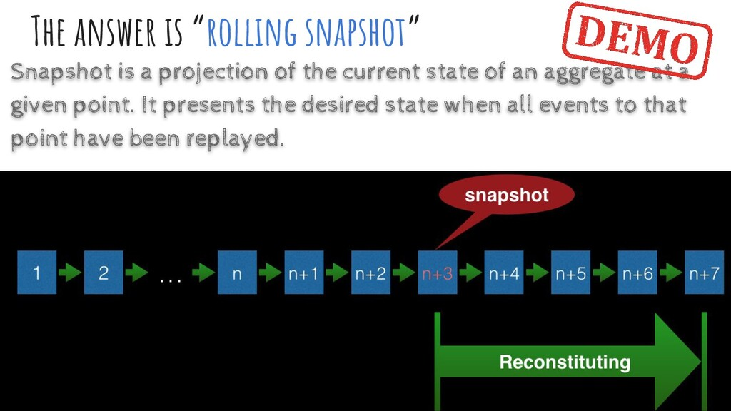 """The answer is """"rollıng snapshot"""" Snapshot is a ..."""