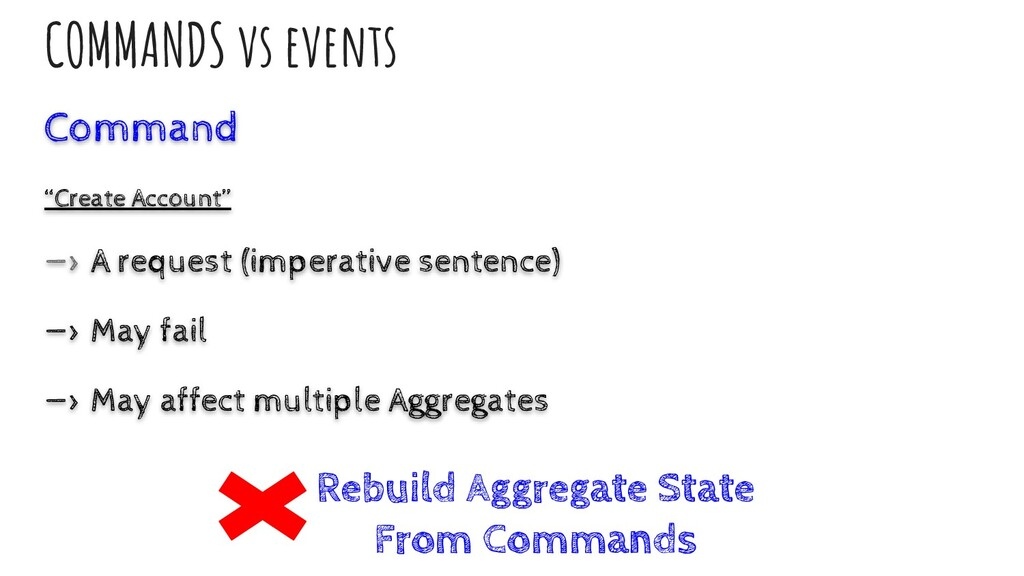 "COMMANDS vs events Command ""Create Account"" —> ..."
