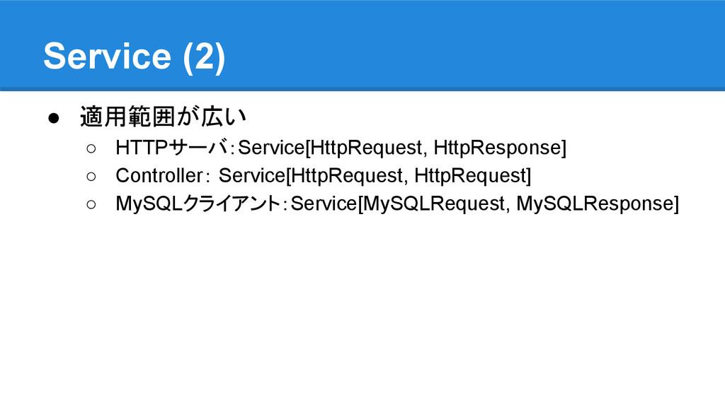 Service (2) ● 適用範囲が広い ○ HTTPサーバ:Service[HttpReq...