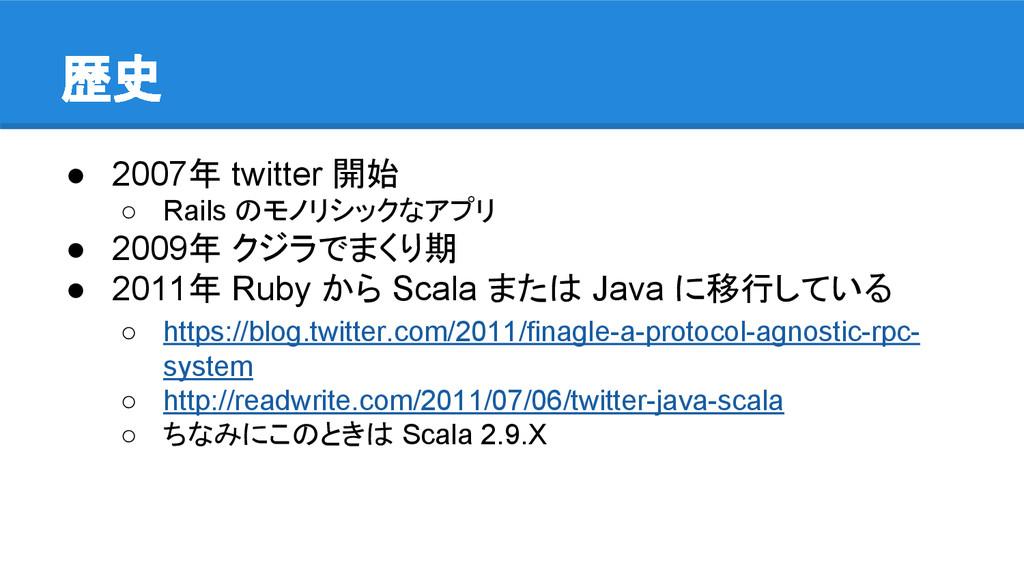 歴史 ● 2007年 twitter 開始 ○ Rails のモノリシックなアプリ ● 200...