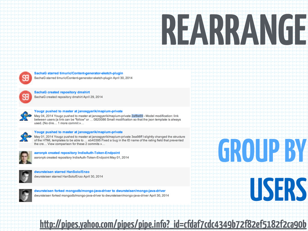 REARRANGE GROUP BY USERS http://pipes.yahoo.com...