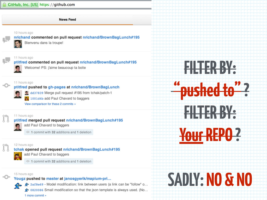 """FILTER BY: """"pushed to"""" ? FILTER BY: Your REPO ?..."""
