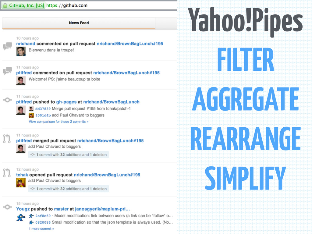 Yahoo!Pipes FILTER AGGREGATE REARRANGE SIMPLIFY