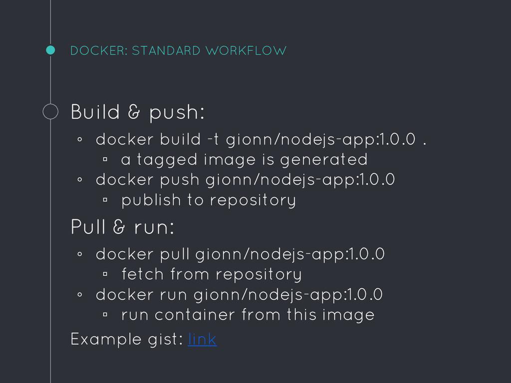 DOCKER: STANDARD WORKFLOW Build & push: ◦ docke...