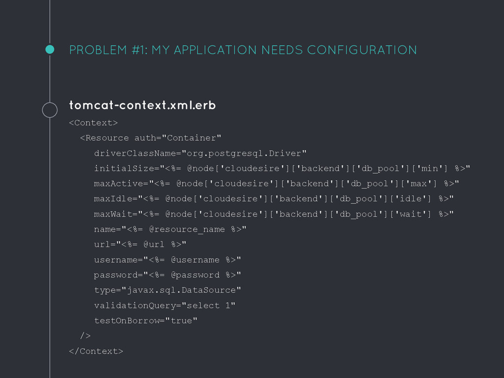 PROBLEM #1: MY APPLICATION NEEDS CONFIGURATION ...