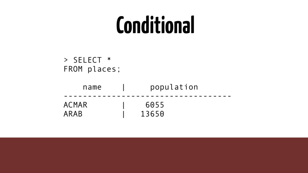 Conditional > SELECT * FROM places; name | popu...