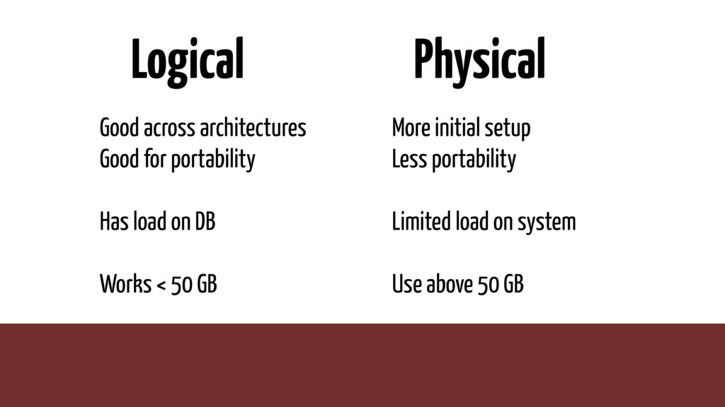Logical Good across architectures Good for port...