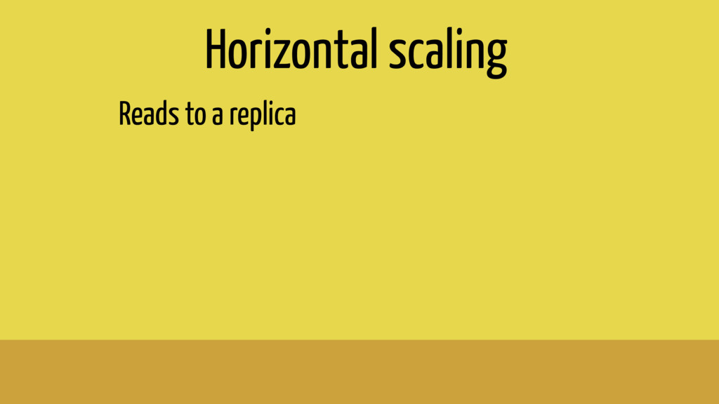 Horizontal scaling Reads to a replica