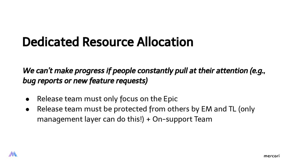 Dedicated Resource Allocation We can't make pro...