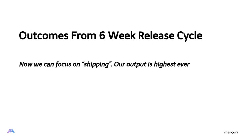 Outcomes From 6 Week Release Cycle Now we can f...