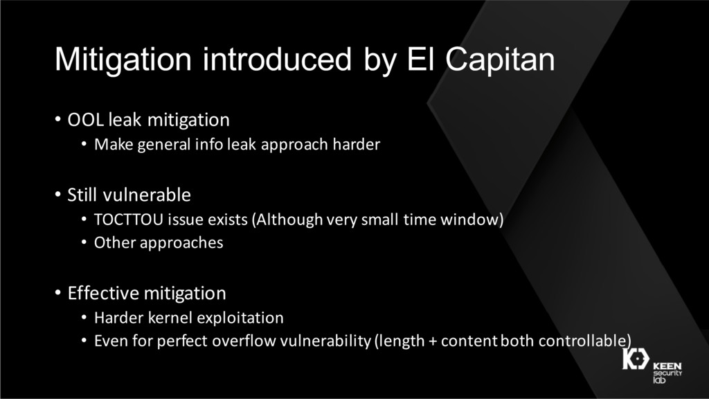 Mitigation introduced by El Capitan • OOL leak ...