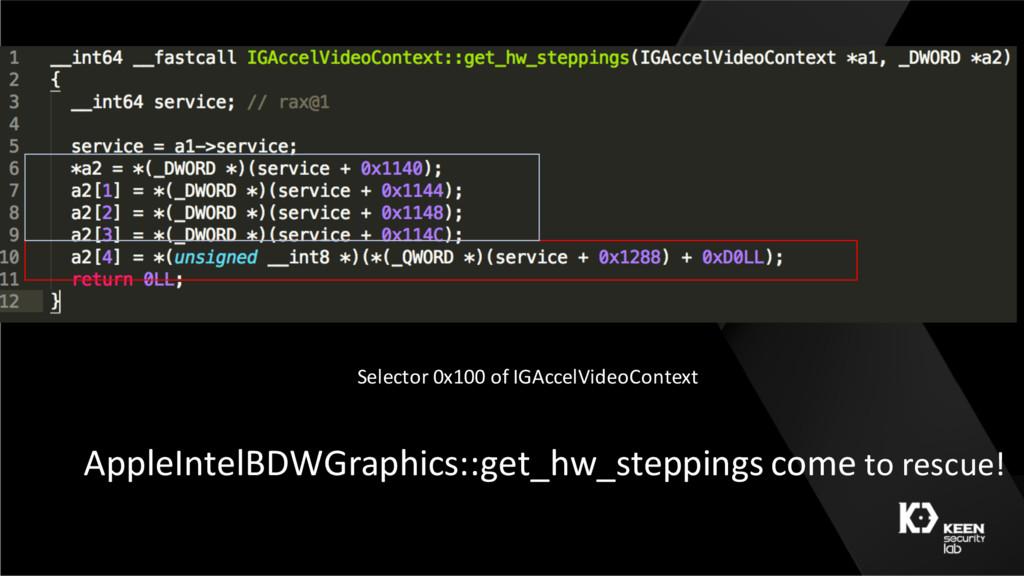 Selector 0x100 of IGAccelVideoContext AppleInte...
