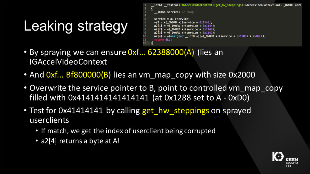 Leaking strategy • By spraying we can ensure 0x...