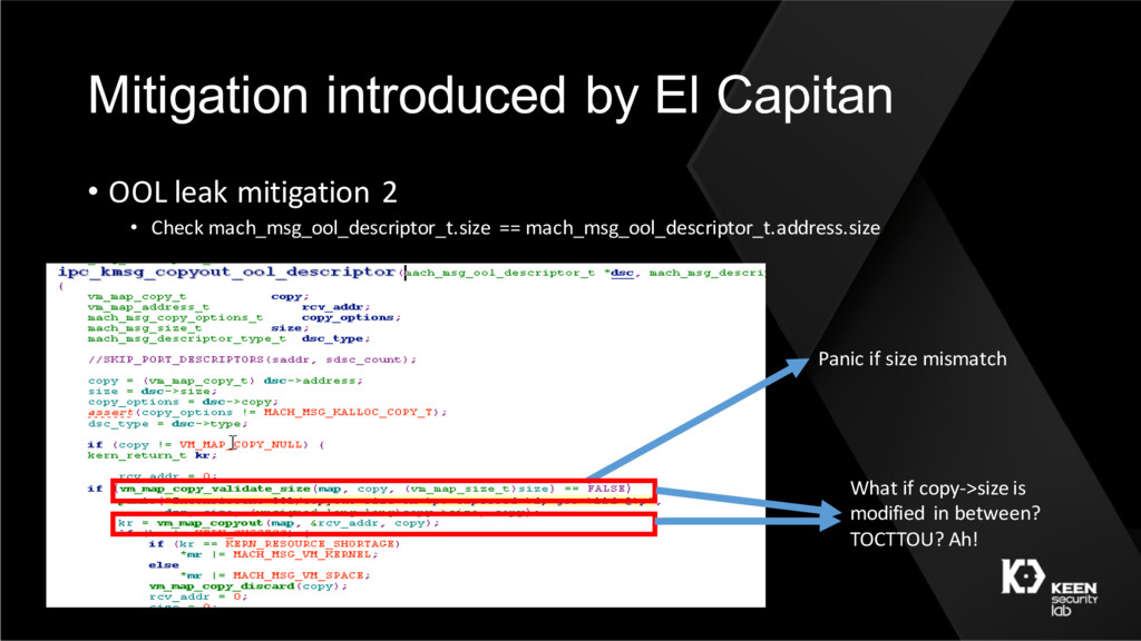 Mitigation introduced by El Capitan • OOL leak ...