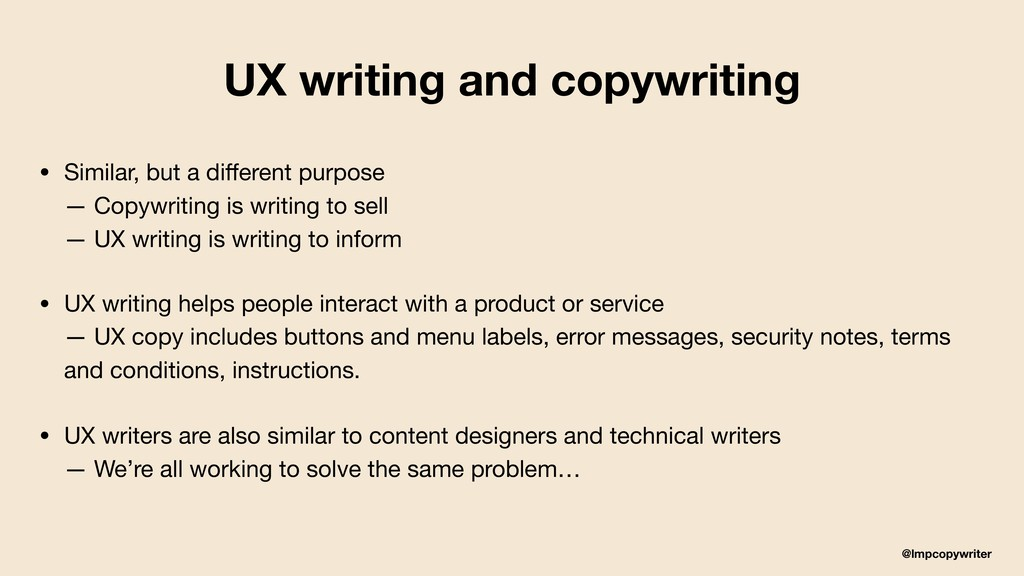 @lmpcopywriter UX writing and copywriting • Sim...