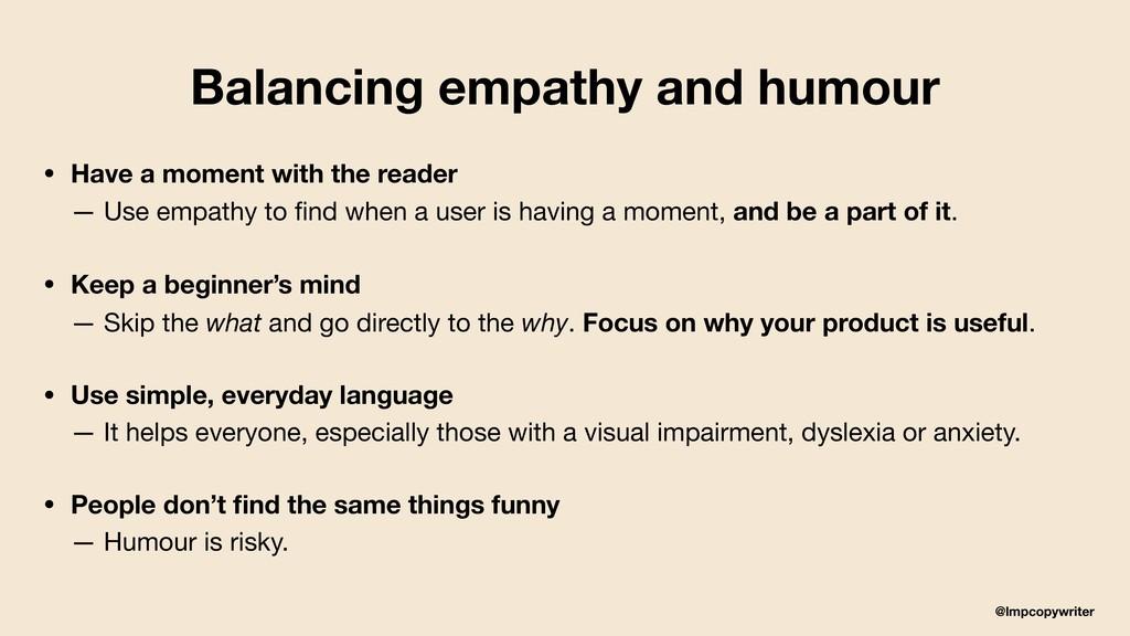 @lmpcopywriter Balancing empathy and humour • H...