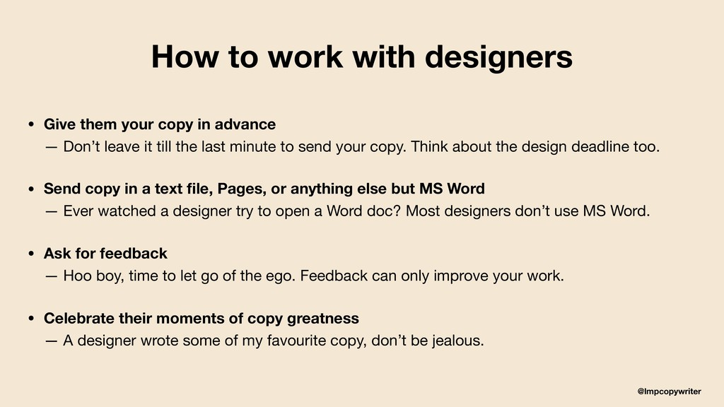 @lmpcopywriter How to work with designers • Giv...