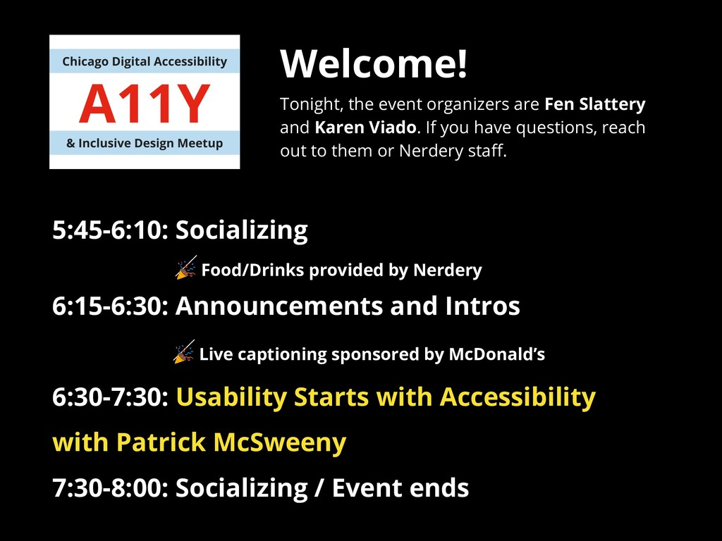 Welcome! Tonight, the event organizers are Fen ...