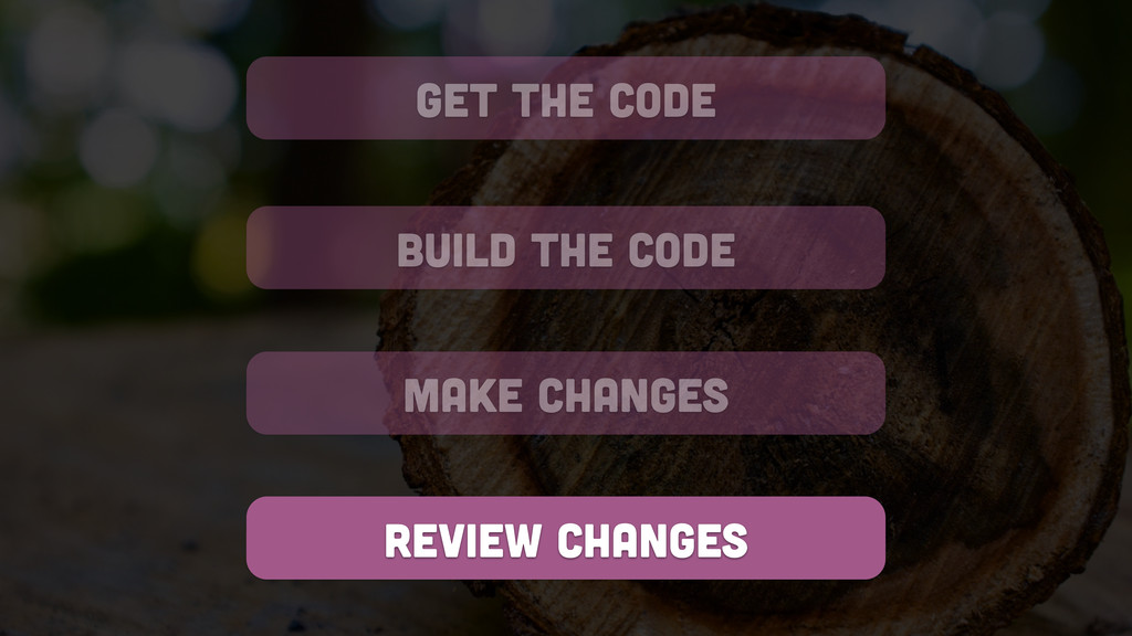 get the code build the code review changes make...