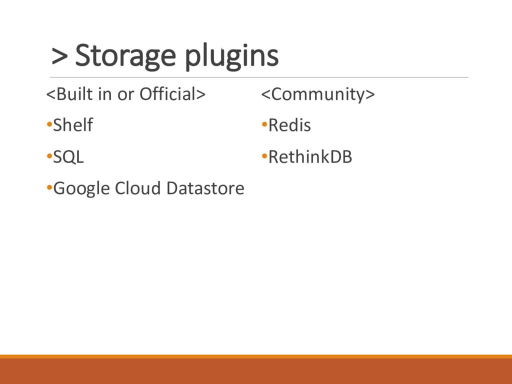 > Storage plugins <Built in or Official> •Shelf...