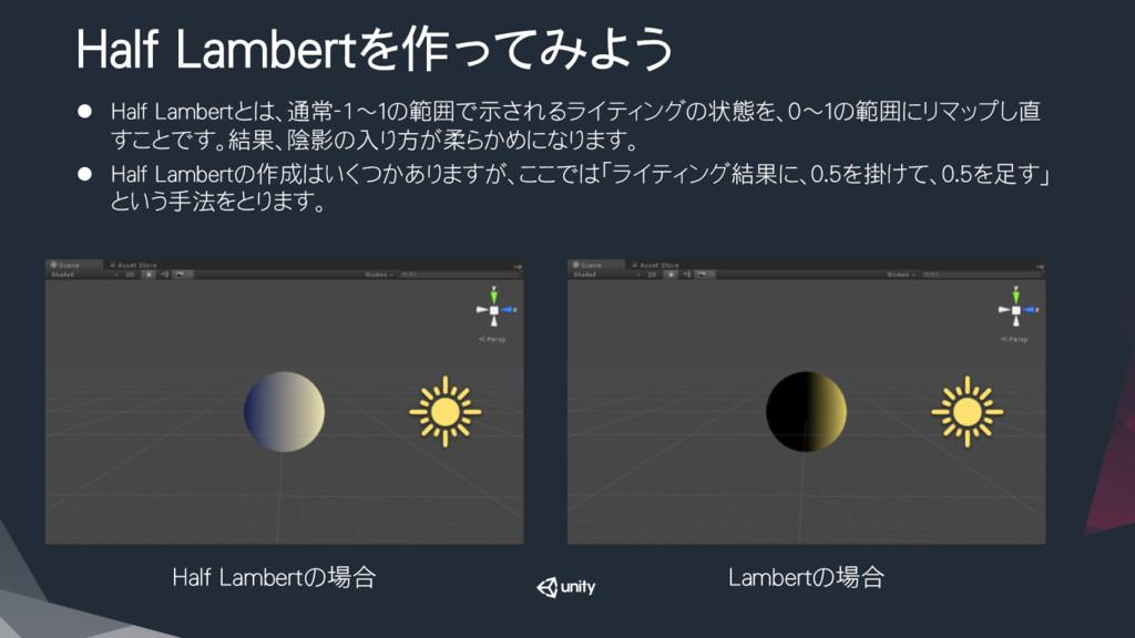 Half Lambertを作ってみよう l Half Lambertとは、通常-1~1の...