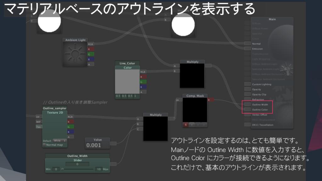 アウトラインを設定するのは、とても簡単です。 Mainノードの Outline Wi...