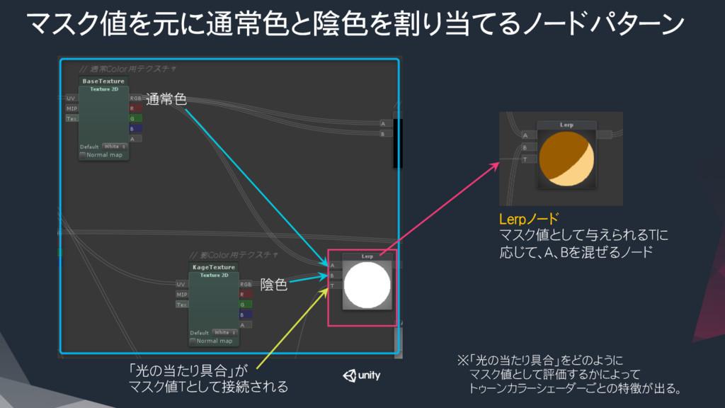 マスク値を元に通常色と陰色を割り当てるノードパターン Lerpノード マスク値として与えら...