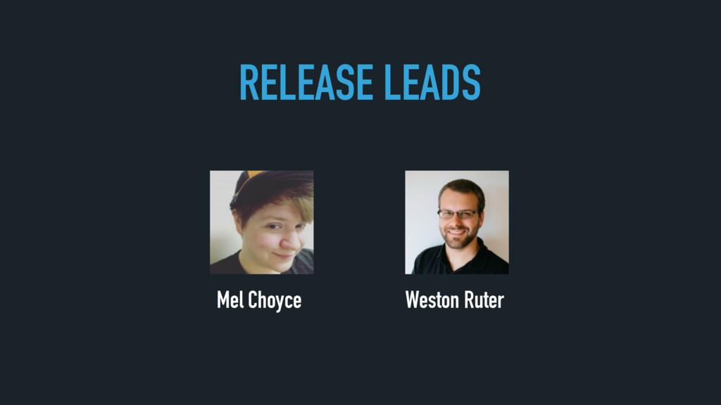 Weston Ruter Mel Choyce RELEASE LEADS