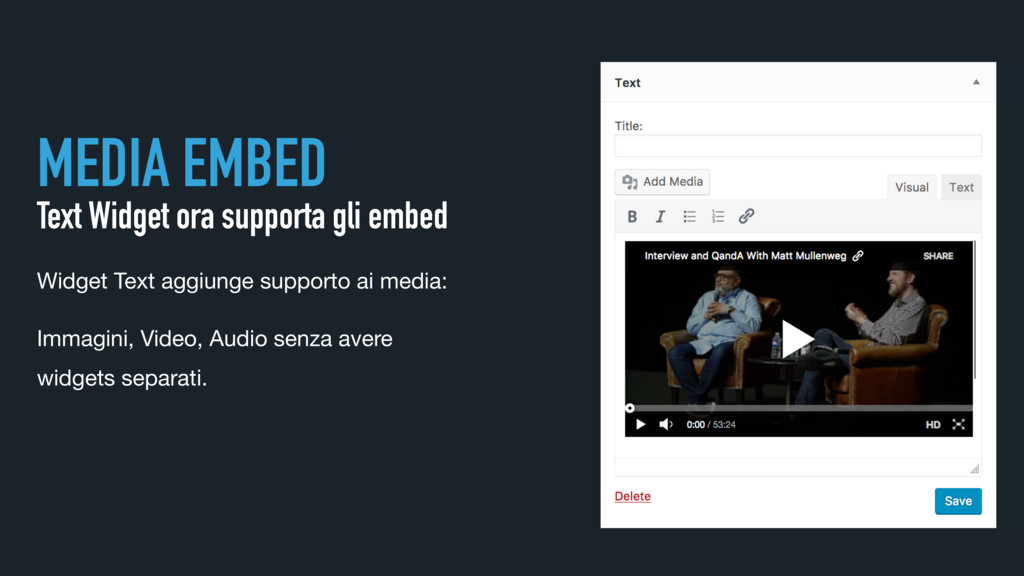 MEDIA EMBED Text Widget ora supporta gli embed ...