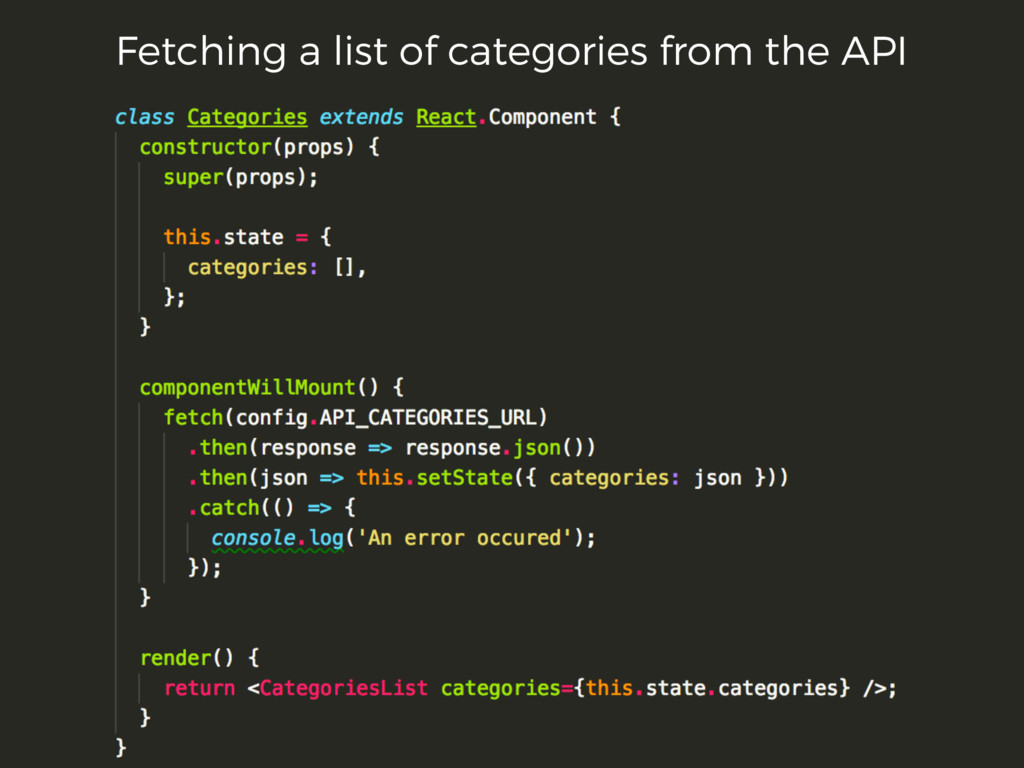 Fetching a list of categories from the API