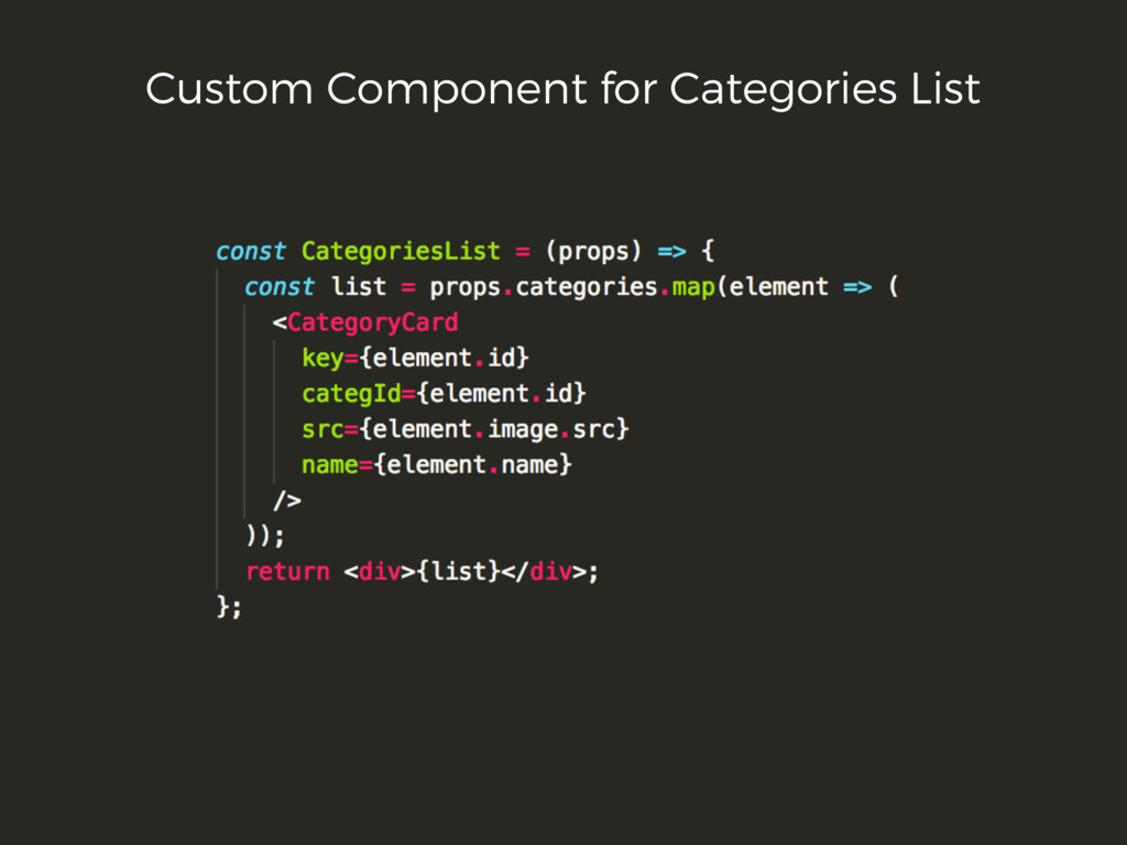 Custom Component for Categories List